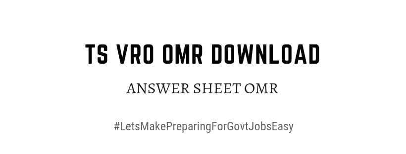 TS VRO OMR Answer Sheet Download