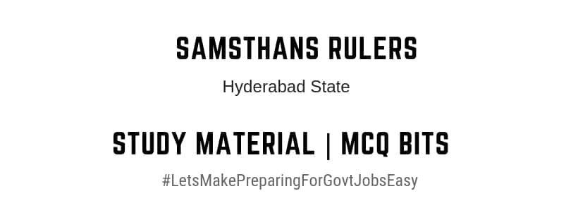 Hyderabad state samsthans ruler feudatories kings