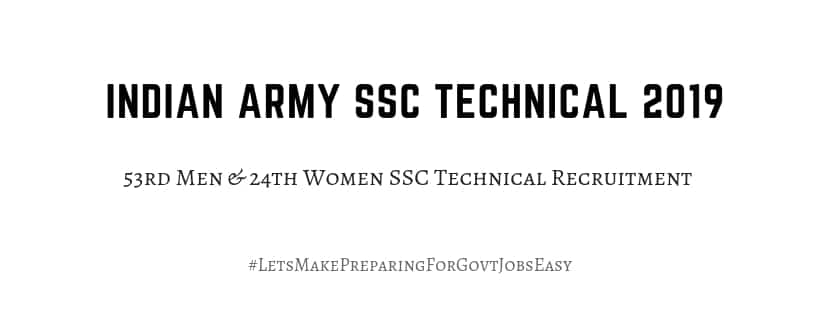 Indian Army SSC Technical 2019