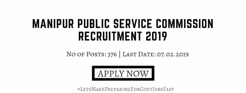 Manipur MPSC Recruitment 2019