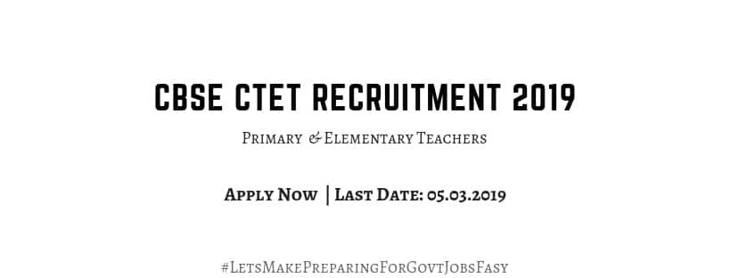 CBSE CTET Recruitment 2019