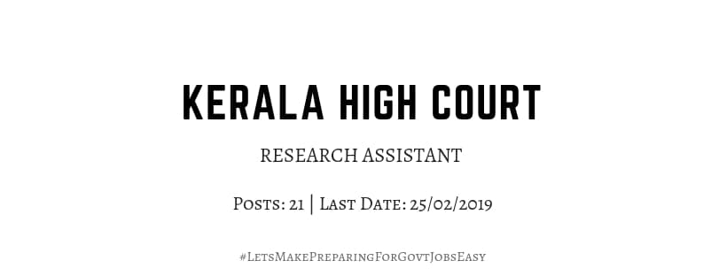 Kerala high court research assistant 2019