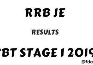 Download RRB JE CBT 1 Results 2019
