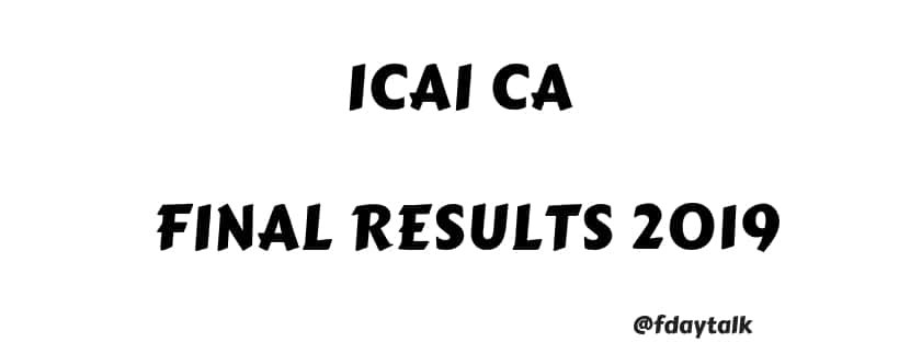 ICAI CA Results 2019