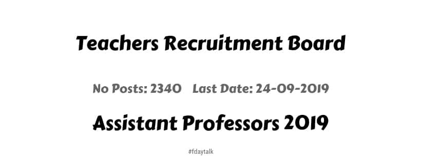 Teachers Recruitment Board Online Notification Apply Assistant Professors 2019