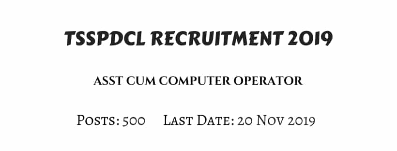 TSSPDCL Asst Computer Operator Recruitment 2019
