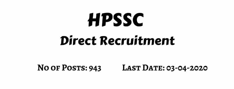 HPSSC Direct Recruitment Notification 2020