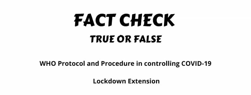 WHO Protocol Procedure in controlling COVID-19