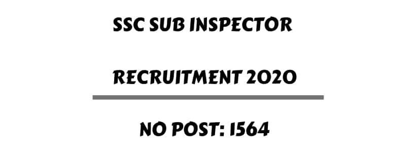 SSC SI Delhi Police CAPFs Recruitment 2020